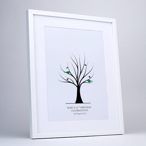Fingerprint tree for fingerprint leaves, green birds, black frame