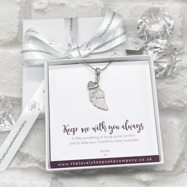 Wing & Heart Necklace Personalised Gift Box - Various Thoughtful Messages