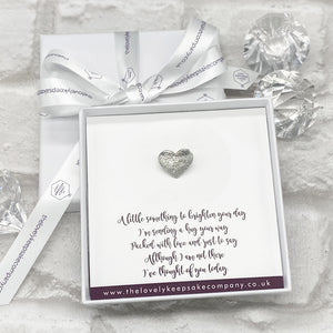 You added Heart Pin Personalised Gift Box - Various Thoughtful Messages to your cart.