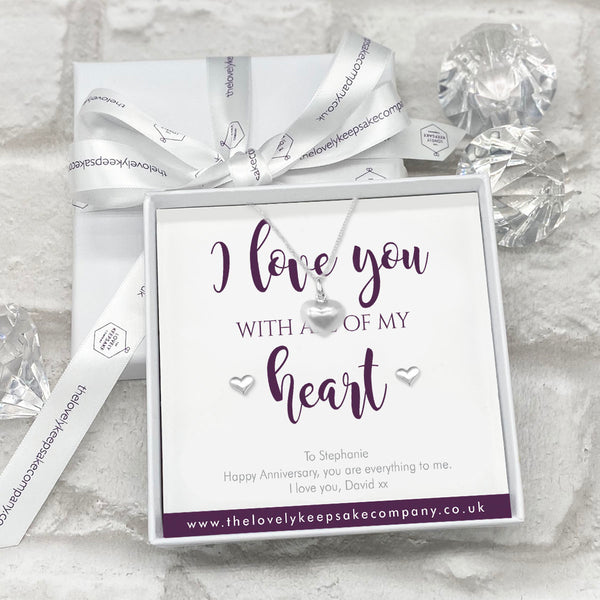 Sterling Silver Heart Necklace & Earrings Set - Personalised Gift Box
