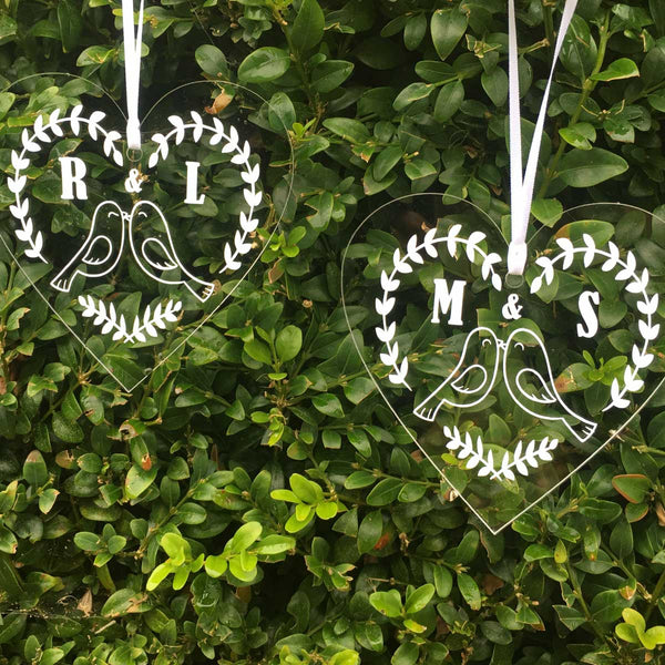 Personalised Love Birds Couples Acrylic Hanging Decoration