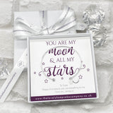 Sterling Silver Moon & Star Bangle Personalised Gift Box