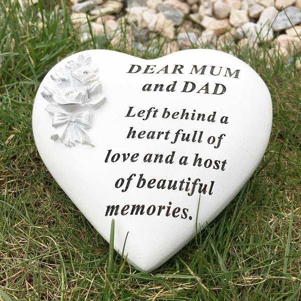 Rose Bouquet Heart Outdoor Memorial - Mum & Dad