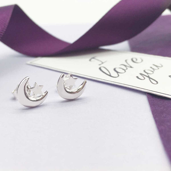 Sterling Silver Moon & Stars Stud Earrings