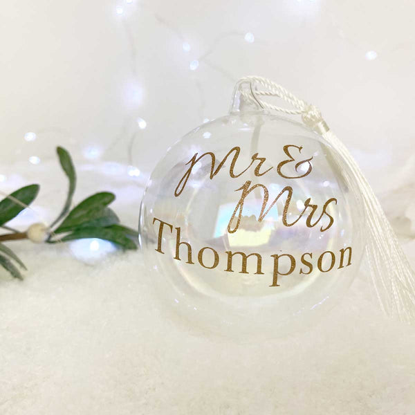 Personalised Mr & Mrs / Mr & Mr / Mrs & Mrs Iridescent Glass Bauble