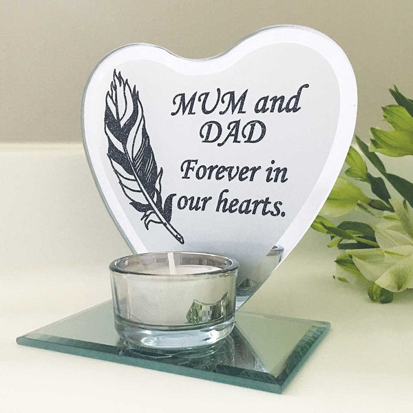 Feather Heart Mirrored Remembrance Tea Light Holder - Mum & Dad