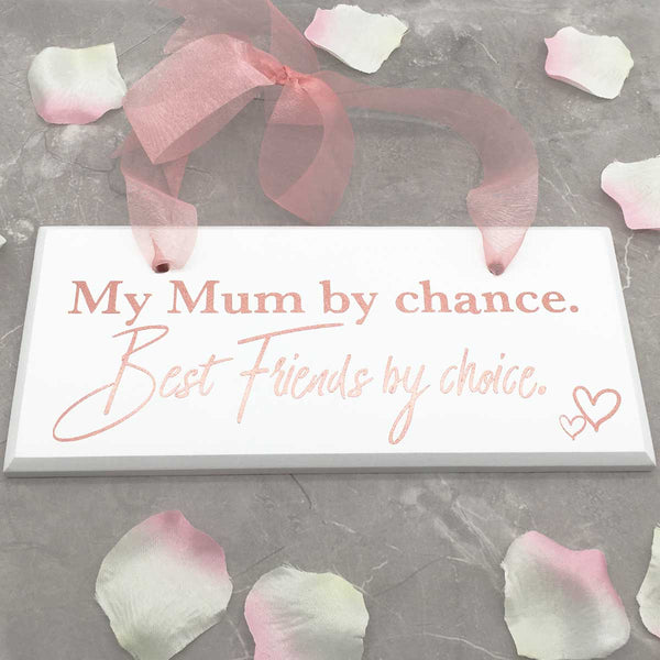'Mum By Chance, Best Friends By Choice' White Wooden Hanging Sign