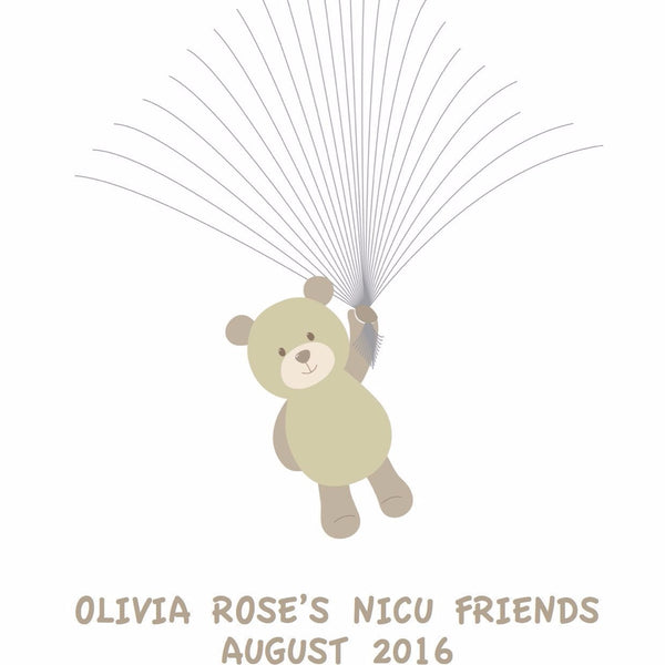 Personalised Fingerprint Art, NICU Friends Teddy Bear