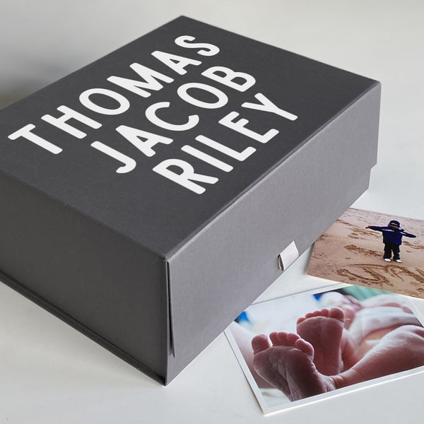 Personalised Name Memory Keepsake Box (White, Black, Grey)