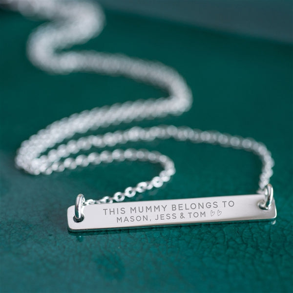 Sterling Silver 'This Mummy Belongs To ....' Bar Necklace