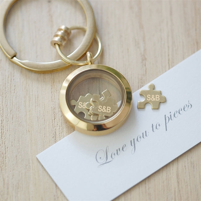 Gold 'Love You To Pieces' Keyring - Personalised with Initials