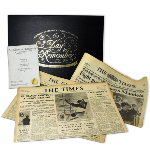 Original Newspaper in a Anniversary Keepsake Box