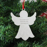 Engraved Christmas Tree Angel Decoration - Metal - on tree