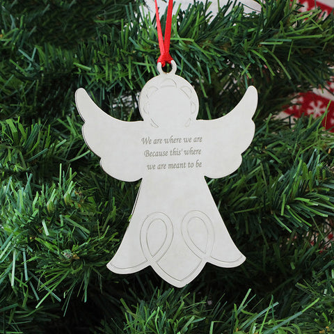 Personalised Christmas Tree Decoration - Angel, metal engraved message