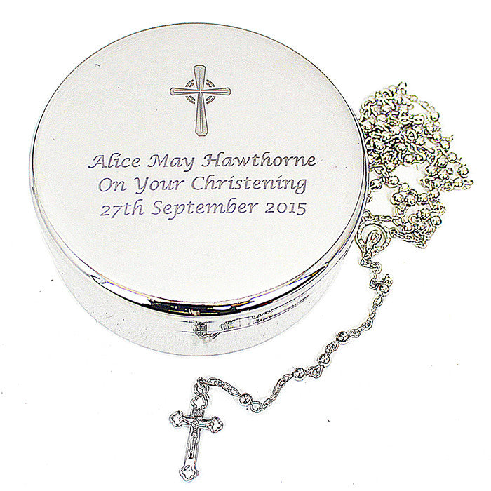Rosary Beads and Cross Round Trinket