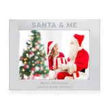 Personalised Photo Frame 'SANTA & ME' - girl image