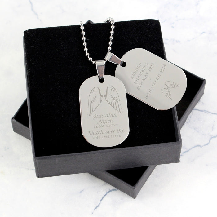 Personalised Guardian Angel Stainless Steel Double Dog Tag Necklace