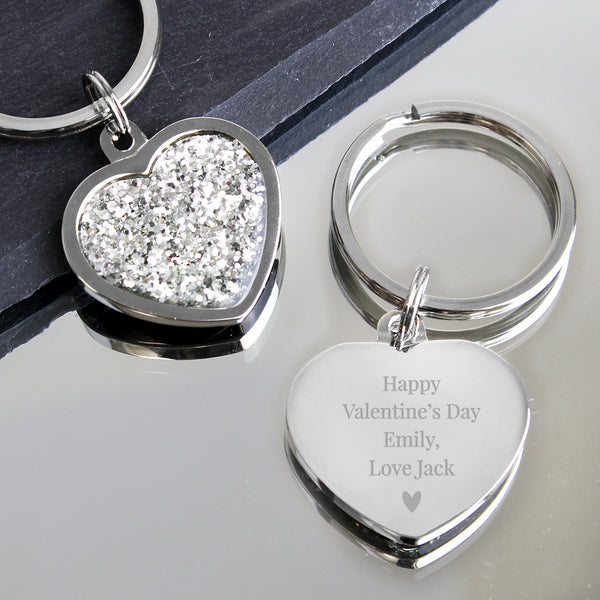 Personalised Free Text Diamante Heart Keyring