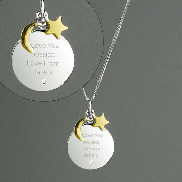 Personalised Moon & Star Sterling Silver Necklace and Box