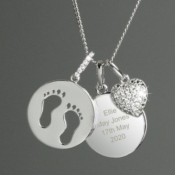Personalised Sterling Silver Footprints and Cubic Zirconia Heart Angel Baby Necklace