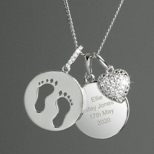 You added Personalised Sterling Silver Footprints and Cubic Zirconia Heart Angel Baby Necklace to your cart.
