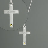 Personalised Sterling Silver Cross with 9ct Gold Heart & CZ Necklace