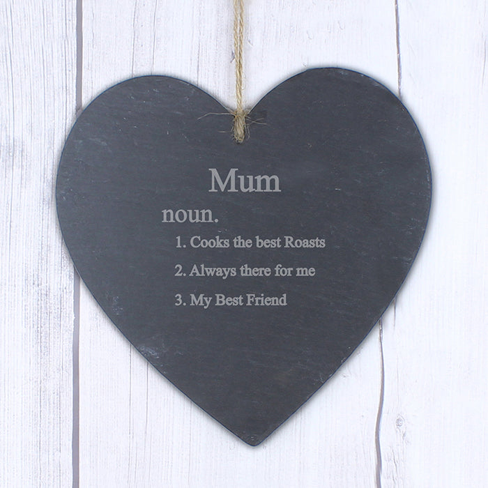 Personalised 'Definition of Mum' Large Slate Heart