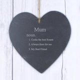 Personalised 'Definition of Mum' Slate Heart