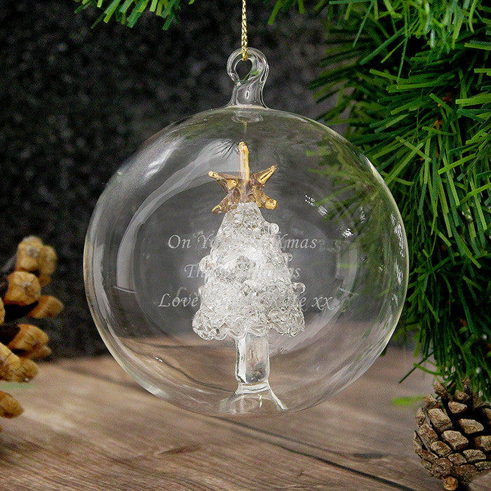 Personalised Glass Bauble with Glass Tree - on Tree