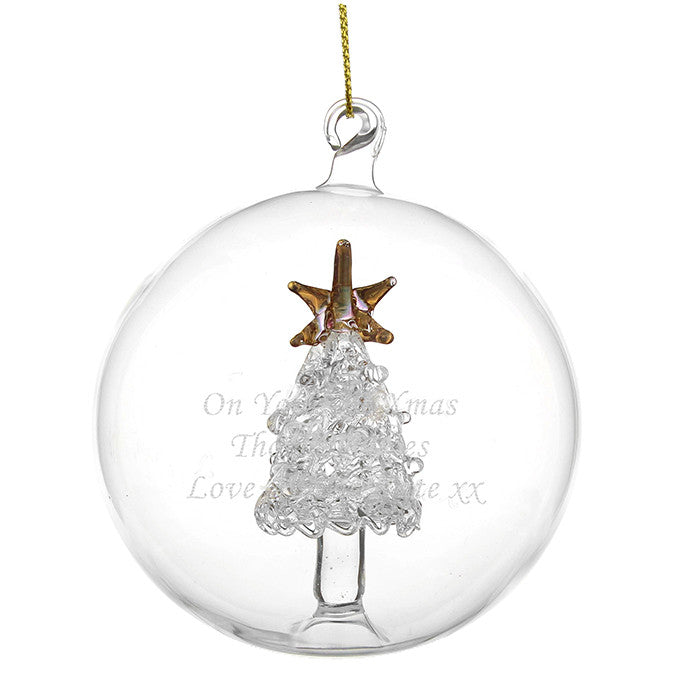 Personalised Glass Bauble with Glass Tree