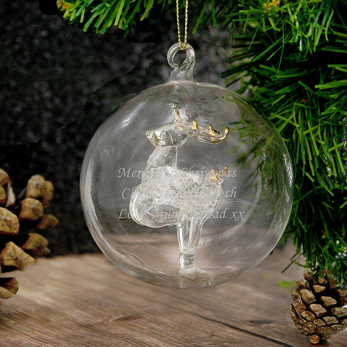 Personalised Christmas Tree Bauble, Glass with Reindeer – The Lovely ...