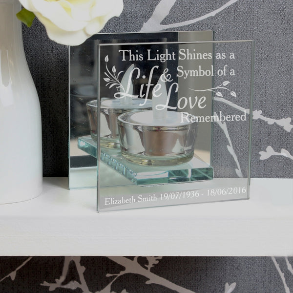Personalised Life and Love Mirrored Glass Tea Light Holder