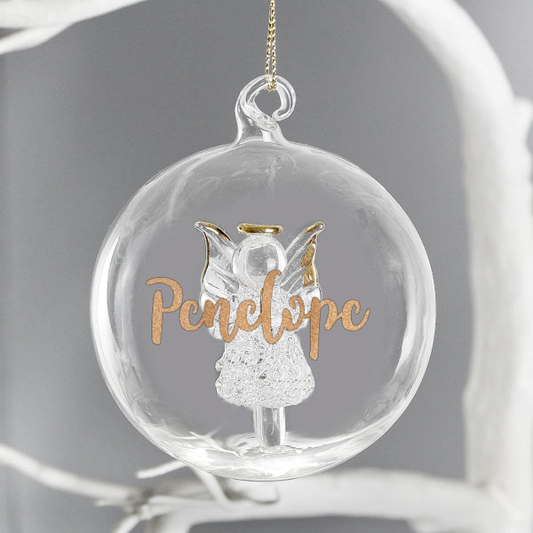 Personalised Christmas Tree Bauble, Glass with Angel & Gold Glitter Name