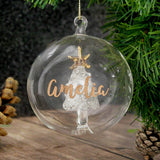 Personalised Christmas Tree Bauble, Glass with Tree & Gold Glitter Name