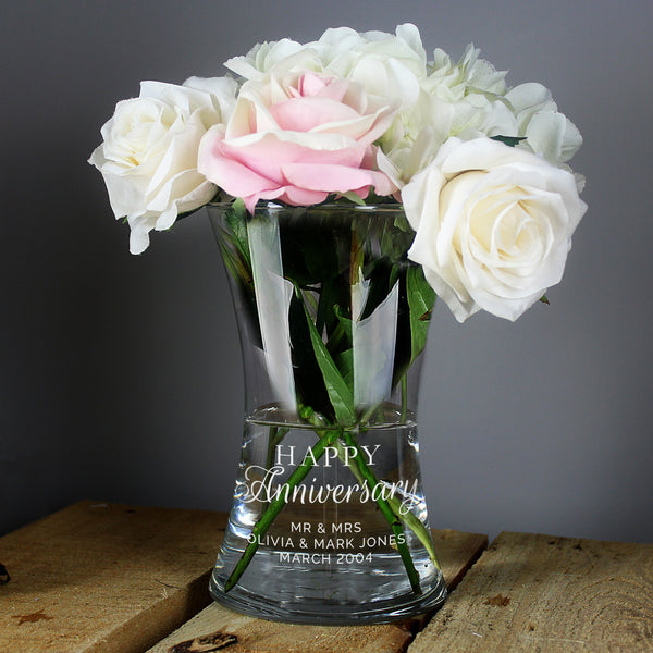 Personalised 'Happy Anniversary' Glass Vase