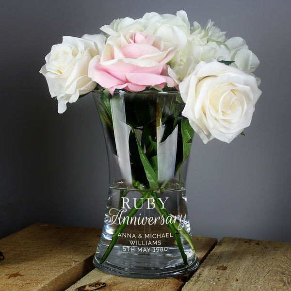 Personalised 'Ruby Anniversary' Glass Vase