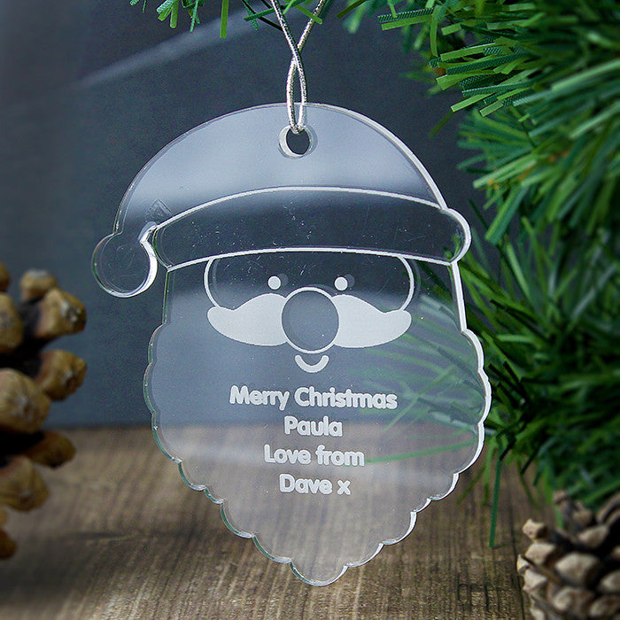 Personalised Christmas Decoration - Acrylic Santa Head hanging on tree