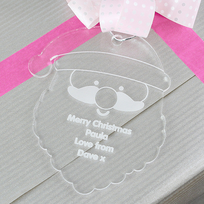 Personalised Christmas Decoration - Acrylic Santa Head as gift tag