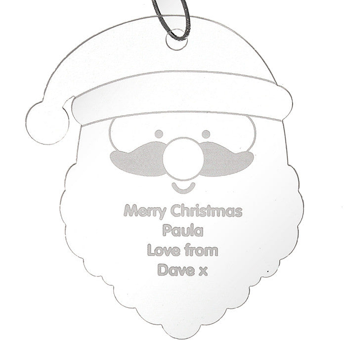 Personalised Christmas Decoration - Acrylic Santa Head on white