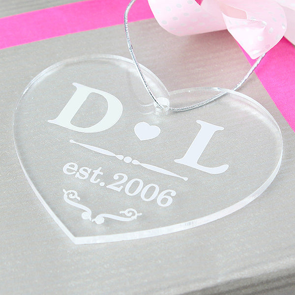 a93667805 Personalised Christmas Decoration - Acrylic Love Heart as gift tag