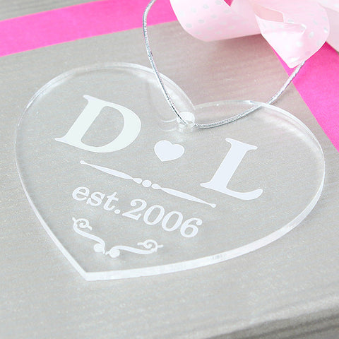 Personalised Christmas Decoration - Acrylic Love Heart as gift tag