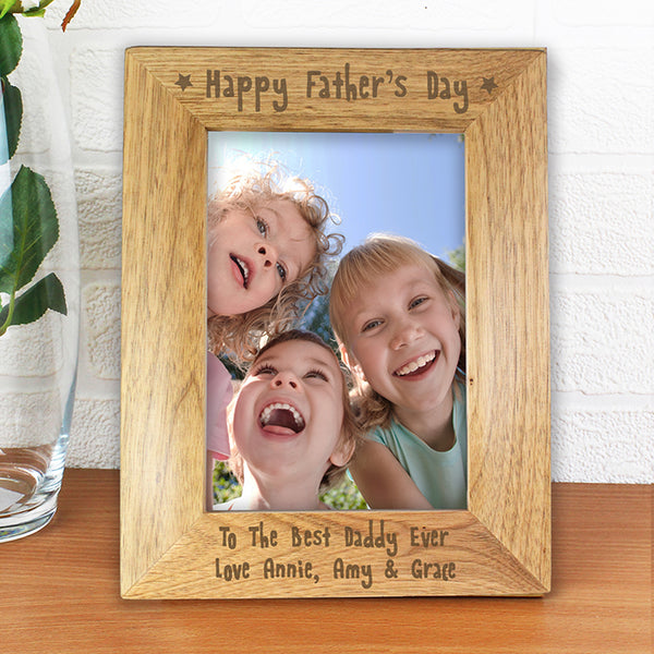 Personalised 'Happy Father's Day' Wooden Photo Frame 5X7