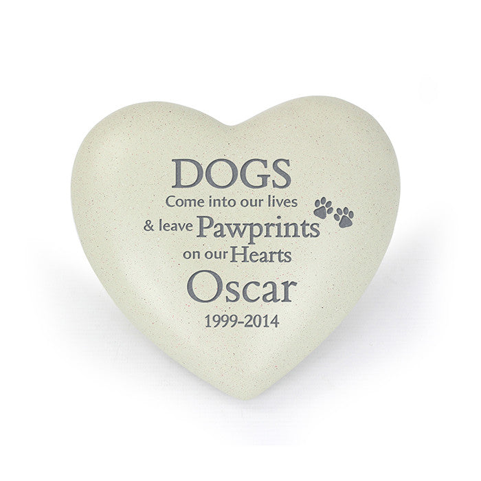 Dog Pawprints Heart Memorial