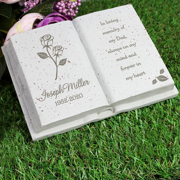 Personalised Book Memorial Grave Marker - Rose Design