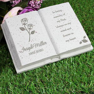 You added Personalised Book Memorial Grave Marker - Rose Design to your cart.