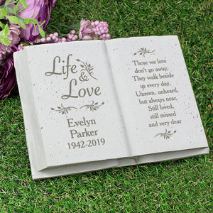 You added Personalised Book Memorial Grave Marker - Life & Love Design to your cart.