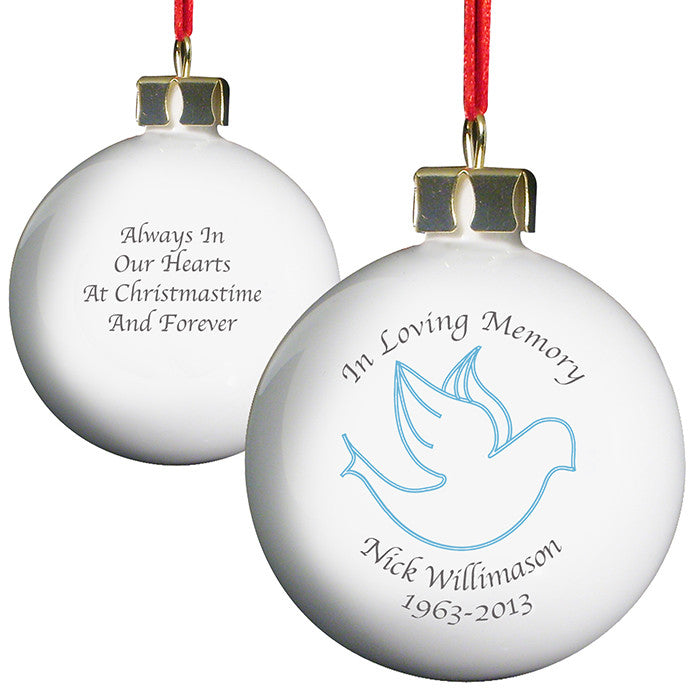 Personalised 'In Loving Memory' Christmas Bauble - Blue Dove - front and back