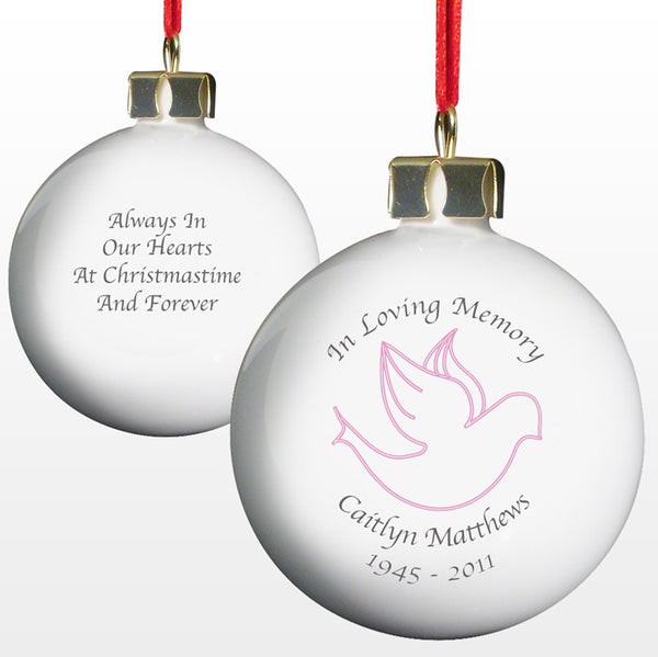 personalised in loving memory christmas bauble pink dove