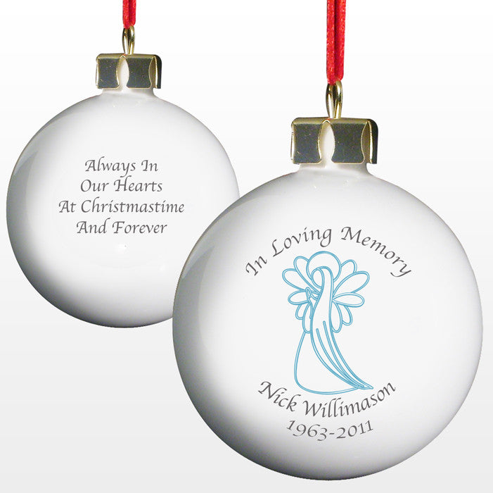 Personalised 'In Loving Memory' Christmas Bauble - Blue Angel - front and back