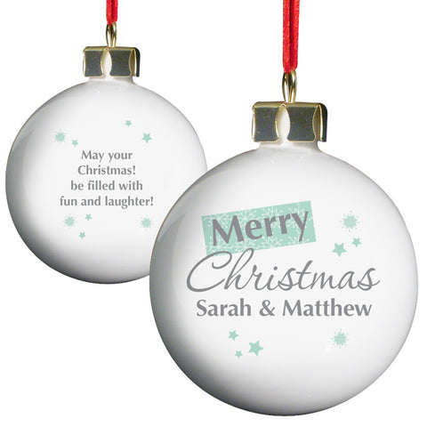 Personalised 'Merry Christmas' Bauble, white ceramic